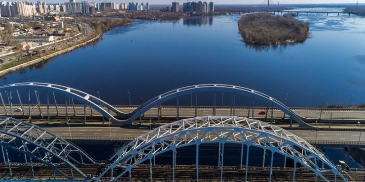 Helicopter flight over bridges in Kyiv